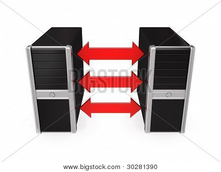 Black computers merged with a red arrows.