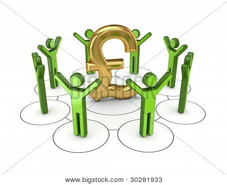 3d small people around golden pound sterling sign.