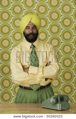 Indian businessman with telephone