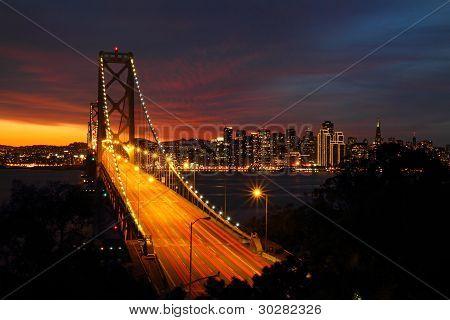 San Francisco Bay bridge at sunset