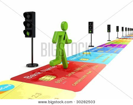 3d small person on a road made of credit cards.