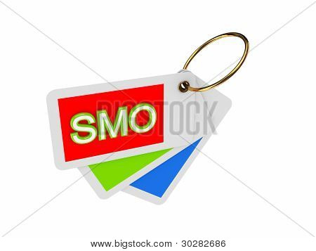 Colorful tags and word SMO.