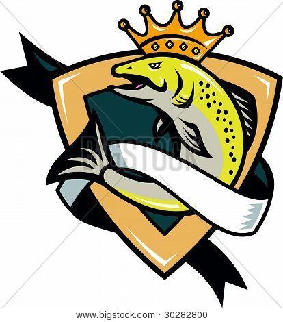 König Lachs Fisch springen Schild