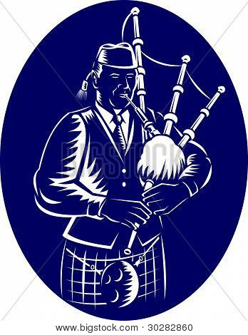 Bagpiper Playing Scottish Great Highland Bagpipe