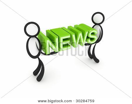 3d small people with a word NEWS in a hands.