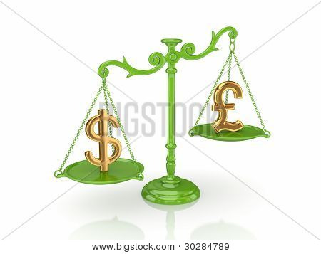 Dollar and pound sterling signs on a scales.