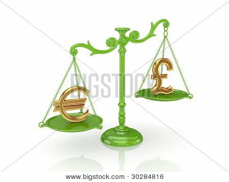 Golden euro and pound sterling signs on a scales.