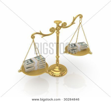 Money packs on a golden antique scales.