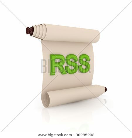 Ancient scroll with a green word RSS.