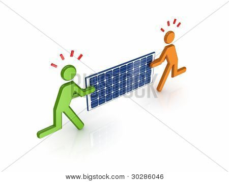 3d small people with solar battery in a hands.