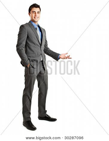 Full length of business man making presentation to copy space isolated on white