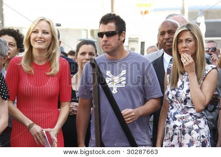 LOS ANGELES, CA - FEB 22: (R-L) Jennifer Aniston; Adam Sandler; Malin Akerman at ceremony where Jennifer Aniston is honored with a star on the Hollywood Walk of Fame on February 22, 2012 in Los Angeles, CA