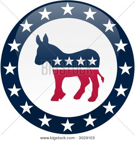 Democrat Button - White And Blue