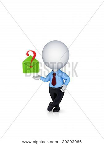 3d small person with a green envelope.
