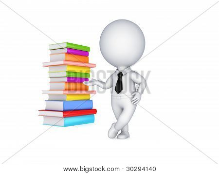 3d small person and colorful books.