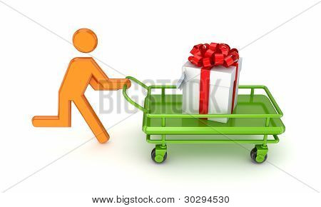 Running 3d small person and gift box.