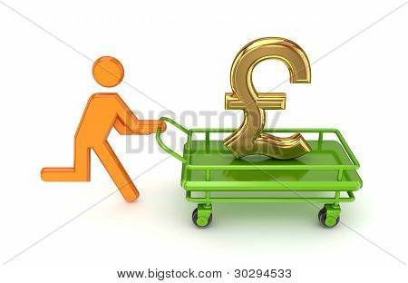 3d small person and gold pound sterling sign.