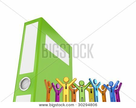 Colorful 3d small people and huge green folder.