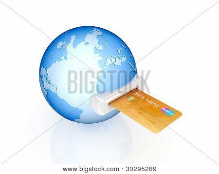 Credit card and globe.