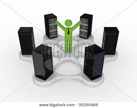 Server concept.Isolated on white background.