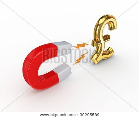 Magnet and pound sterling sign.