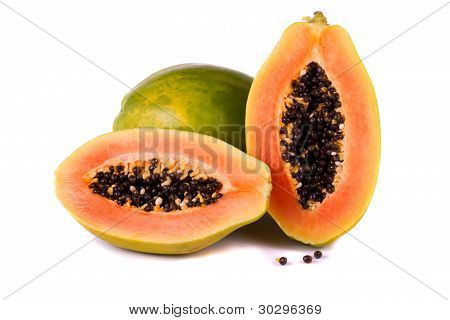 Papaya Fruit On White
