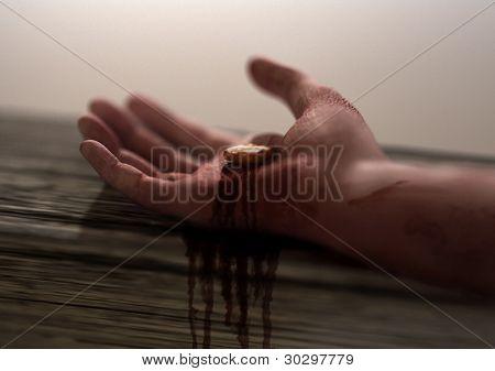 Mão de Jesus Nail piercing-em foco