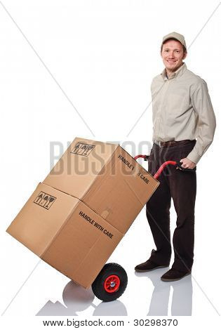 portrait of worker with handtruck on white background