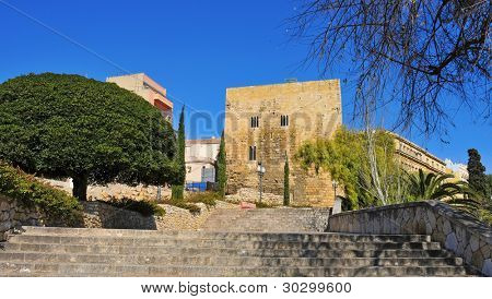 A view of Passeig de Sant Antoni and Torre de Pilats, in Tarragona, Spain