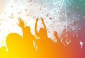 crowd at summer music festival - cheerful pastel colors poster