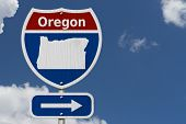 Road Trip To Oregon, Red, White And Blue Interstate Highway Road Sign With Word Oregon And Map Of Or poster
