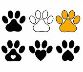 Paw Print On White Background. Dog Paw Sign. Cat Paw Sign. Animal Symbol. poster