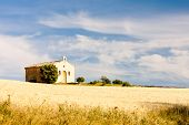chapel with grain field, Plateau de Valensole, Provence, France