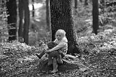 Active Little Girl With Teddy Bear In Autumn Forest. Active Rest And Activity On Fresh Air In Woods. poster