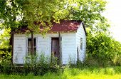 Shabby, Weathered Small House Shack On An Overgrown, Unkempt Lot poster