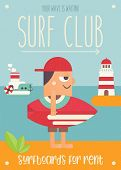 Surfing. Cartoon Surfer In Baseball Cap With Surfboard, Lighthouse And Steamship. Vector Illustratio poster