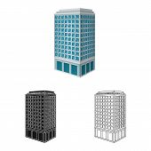 Vector Illustration Of Skyscraper And House Icon. Set Of Skyscraper And Hotel Vector Icon For Stock. poster