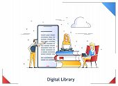 Flat Linear Illustration Of Media Book Library Concept E-book, Reading An Ebook To Study On E-librar poster