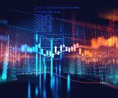 Server Room 3d Illustration With Node Base Programming Data  Design Element.concept Of Big Data  Sto poster