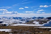 Rocky Mountain National Park Landscape With Snow Capped Peaks And Alpine Meadows.  Trail Ridge Road  poster