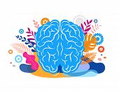 Brain, Mind And Mindfulness Concept Illustration. Vector Background And Poster With Leaves And Natur poster