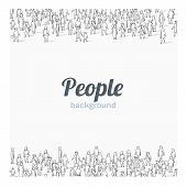 Large Group Of People On White Background. Outline Style. People Communication Concept. poster