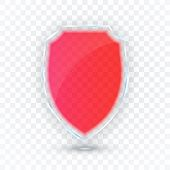 Transparent Shield. Safety Glass Badge Icon. Privacy Guard Banner. Protection Shield Concept. Decora poster