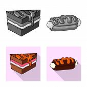 Vector Design Of Confectionery And Culinary Sign. Set Of Confectionery And Product Vector Icon For S poster