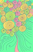 Doodle Cartoon Background With Circles And Spirals. Hand Drawn Texture Design. Colorful Psychedelic  poster