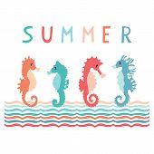 Cute Summer Seahorse Group Cartoon Vector Illustration Motif Set. Hand Drawn Isolated Ocean Animals  poster