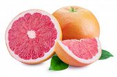 Grapefruit and grapefruit slices isolated on white background. File contains clipping path. poster