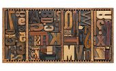 vintage letterpress printing blocks abstract with variety of  letters, numbers, punctuation signs in