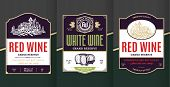 Vector Vintage Red And White Wine Labels poster