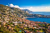 Villefranche Sur Mer And French Riviera Coastline Aerial View, Alpes-maritimes Region Of France poster